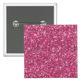 Hot Pink Glitter Printed 2 Inch Square Button