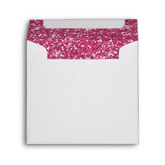 Hot Pink Glitter Printed Envelope