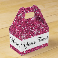 Hot Pink Glitter Printed Favor Box