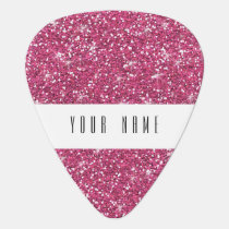 Hot Pink Glitter Printed Guitar Pick