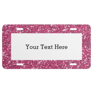 Hot Pink Glitter Printed License Plate