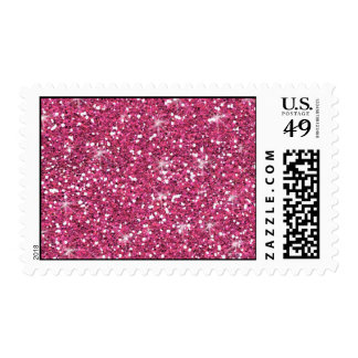 Hot Pink Glitter Printed Postage Stamp