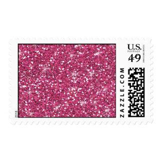 Hot Pink Glitter Printed Postage Stamp