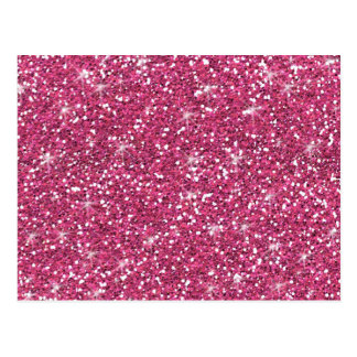 Hot Pink Glitter Printed Postcard