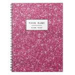 Hot Pink Glitter Printed Spiral Notebook