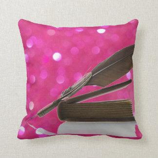 Hot pink glitter quill writer books antique pillow