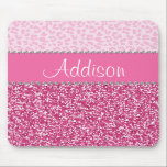 "Hot Pink Glitter Rhinestone Leopard Bling Mousepad<br><div class=""desc"">*Note: Rhinestone/Glitter is graphic image</div>"