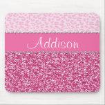 "Hot Pink Glitter Rhinestone Leopard Bling Mousepad<br><div class=""desc"">*Note: Rhinestone/Glitter is graphic image</div>"