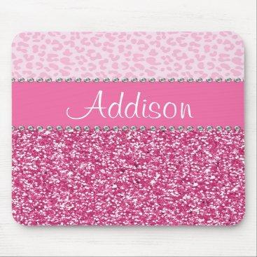 brookechanel Hot Pink Glitter Rhinestone Leopard Bling Mousepad