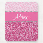 Hot Pink Glitter Rhinestone Leopard Bling Mousepad at Zazzle