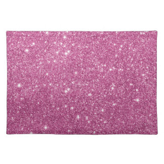 Hot Pink Glitter Sparkles Cloth Placemat