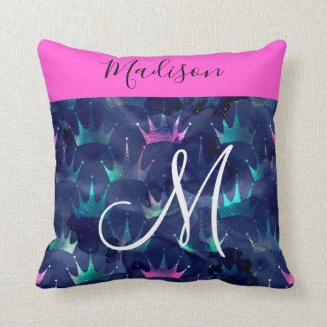 Hot Pink Glitter Sparkles Mermaid Crowns Monogram Throw Pillow