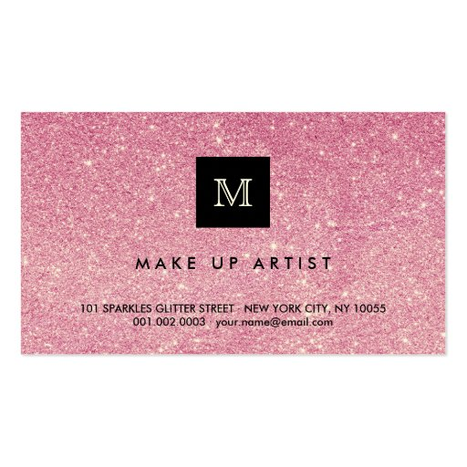 Hot Pink Glitter Sparkles Modern Chic Profile Card Business Cards