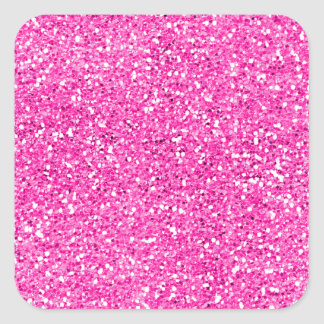 Hot Pink Glitter Square Sticker