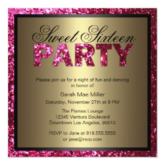 Hot Pink Glitter Sweet Sixteen Invitation