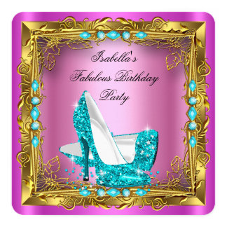 Hot Pink Glitter Teal High Heels Birthday Party 2 Card