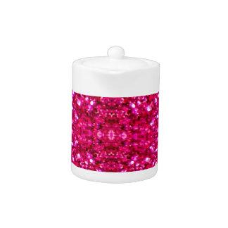 hot pink glitter teapot