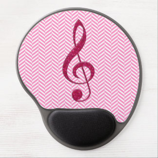 Hot Pink Glitter Treble Clef on Pink Chevron Gel Mousepad