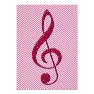 Hot Pink Glitter Treble Clef on Pink Chevron Posters