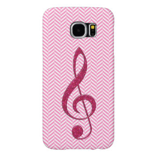 Hot Pink Glitter Treble Clef on Pink Chevron Samsung Galaxy S6 Case