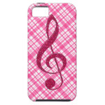 Hot Pink Glitter Treble Clef on Pink Plaid Case For iPhone 5/5S