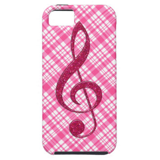 Hot Pink Glitter Treble Clef on Pink Plaid iPhone 5 Case
