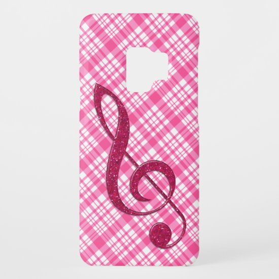 Hot Pink Glitter Treble Clef on Pink Plaid Case-Mate Samsung Galaxy S9 Case