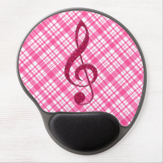 Hot Pink Glitter Treble Clef on Pink Plaid Gel Mouse Pad