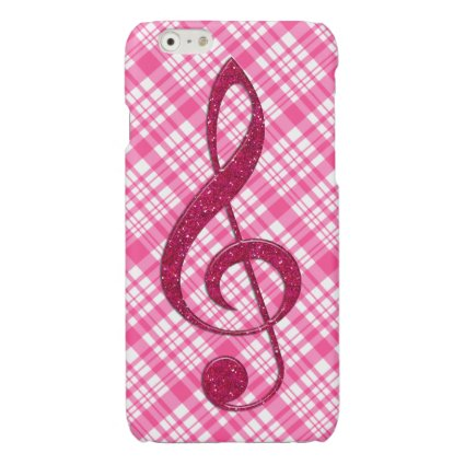 Hot Pink Glitter Treble Clef on Pink Plaid Glossy iPhone 6 Case
