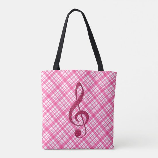 Hot Pink Glitter Treble Clef on Pink Plaid Tote Bag