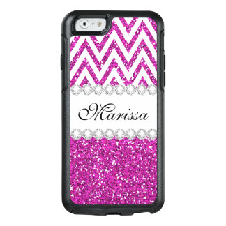 Hot Pink Glitter White Chevron Stripe Pattern OtterBox iPhone 6/6s Case