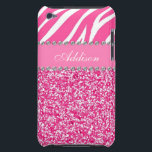 "Hot Pink Glitter Zebra Print Rhinestone Girly Case<br><div class=""desc"">The perfect way to customize your iPod! *Note: Rhinestones/Glitter is graphic image.</div>"