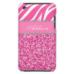 Hot Pink Glitter Zebra Print Rhinestone Girly Case<br><div class='desc'>The perfect way to customize your iPod! *Note: Rhinestones/Glitter is graphic image.</div>