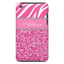 Hot Pink Glitter Zebra Print Rhinestone Girly Case