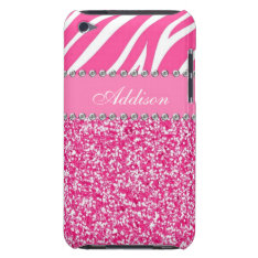 Hot Pink Glitter Zebra Print Rhinestone Girly Case at Zazzle