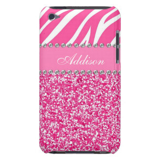 Hot Pink Glitter Zebra Print Rhinestone Girly Case