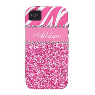 Hot Pink Glitter Zebra Print Rhinestone Girly Case iPhone 4/4S Covers