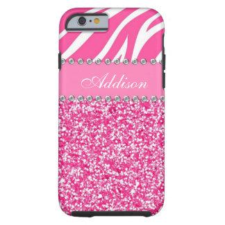 Hot Pink Glitter Zebra Rhinestone Girly Case Tough iPhone 6 Case