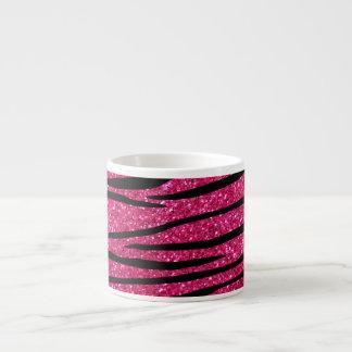 Hot pink glitter zebra stripes 6 oz ceramic espresso cup