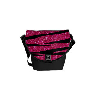 Hot pink glitter zebra stripes courier bag
