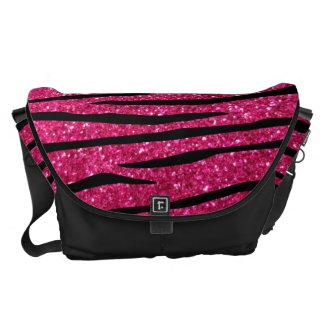 Hot pink glitter zebra stripes courier bags