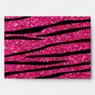 Hot pink glitter zebra stripes envelope
