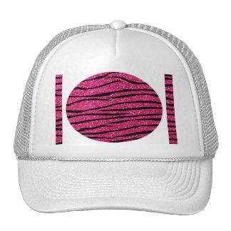 Hot pink glitter zebra stripes mesh hats