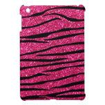 Hot pink glitter zebra stripes iPad mini cover