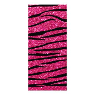 Hot pink glitter zebra stripes rack card design