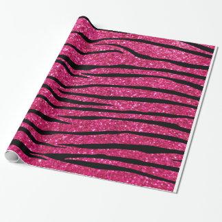 Hot pink glitter zebra stripes wrapping paper