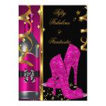 Hot Pink Gold 50 & Fabulous Fantastic Birthday 5x7 Paper Invitation Card