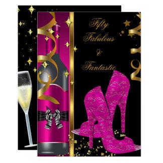 Hot Pink Gold 50 & Fabulous Fantastic Birthday Card
