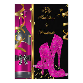 Hot Pink Gold 50 & Fabulous Fantastic Birthday 5x7 Paper Invitation Card