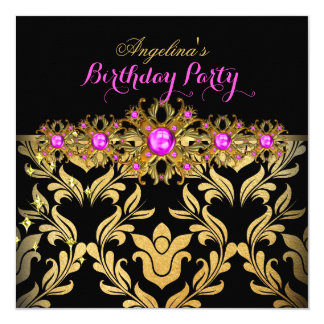 Hot Pink Gold Black Damask Birthday Party 2 Card